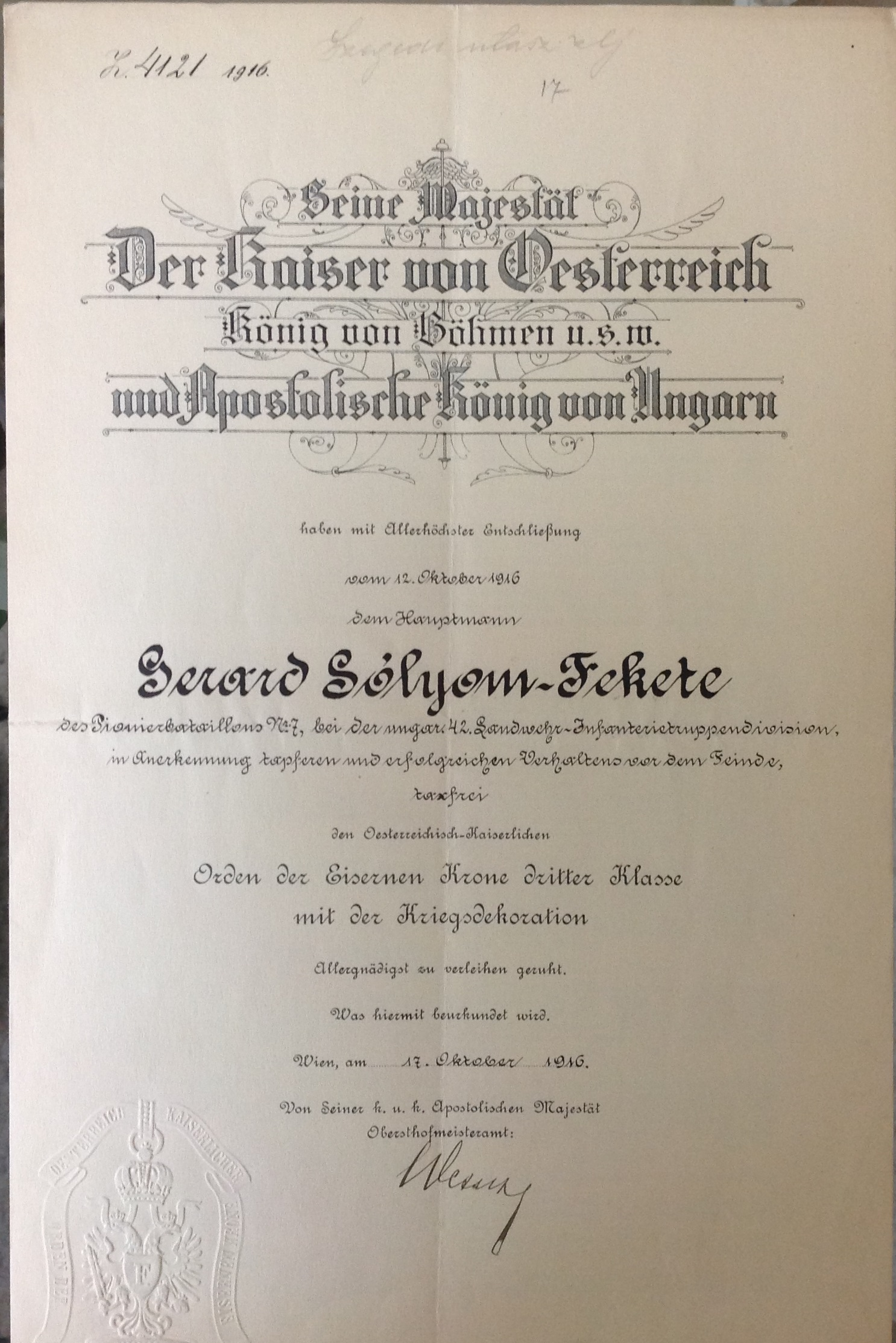 Certificate for the Order of the Iron Crown third class awarded to Gerard Sólyom Fekete