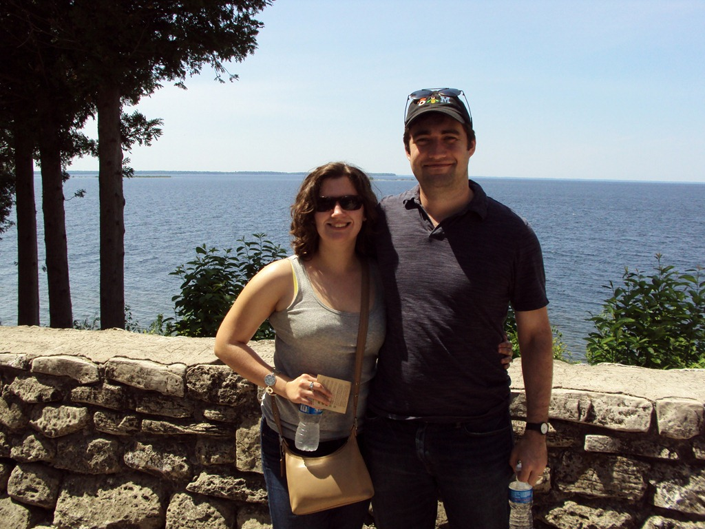 Picture of Erica and Sean McBride in front of the water in Door County Wisconsin
