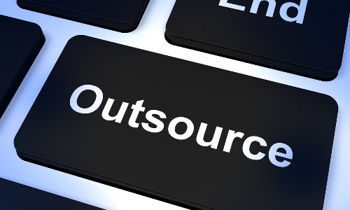 Keyboard Button with the word outsourcing